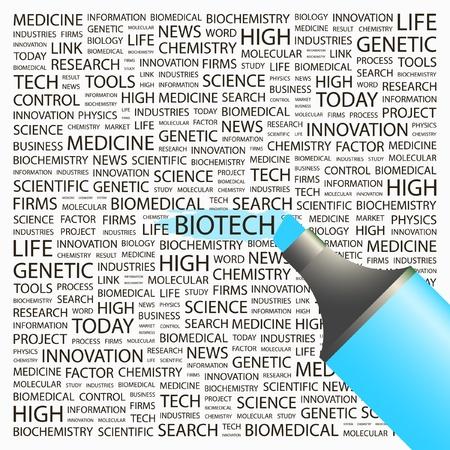 biomedical: BIOTECH. Evidenziatore sopra sfondo con termini differenti associazione. Illustrazione vettoriale. Vettoriali