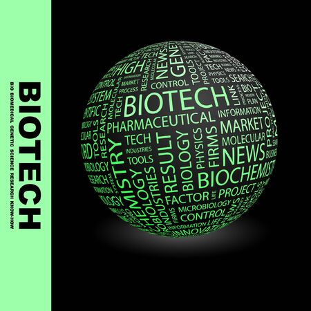 bioscience: BIOTECH. Globe with different association terms. Wordcloud vector illustration.