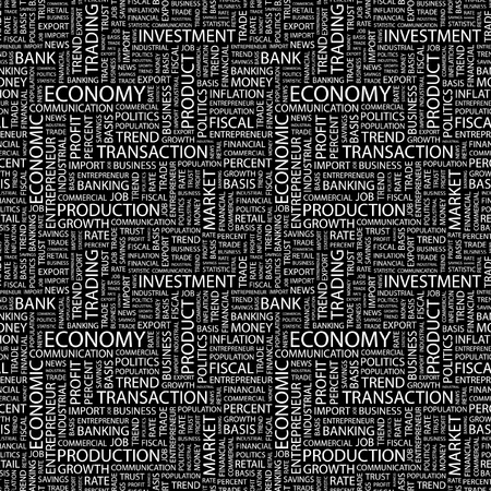 ECONOMY. Seamless vector pattern with word cloud. Illustration with different association terms.   Stock Vector - 8840135