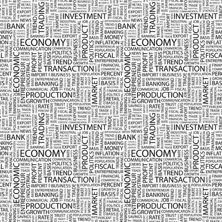 ECONOMY. Seamless vector background. Wordcloud illustration. Illustration with different association terms.   Stock Vector - 9128424