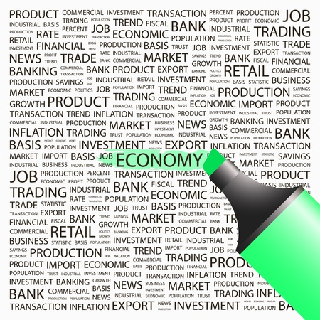 ECONOMY. Highlighter over background with different association terms. Vector illustration. Vector