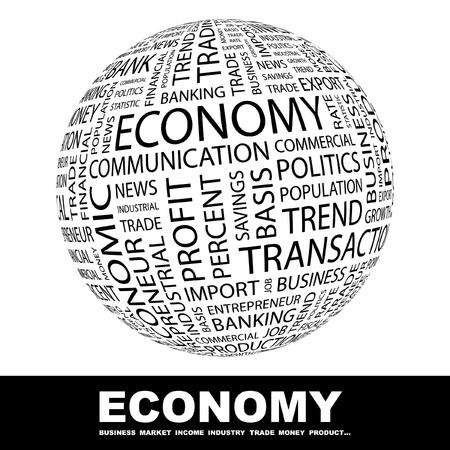 economies: �CONOMIE. Globe avec termes diff�rents association. Wordcloud, illustration vectorielle.   Illustration