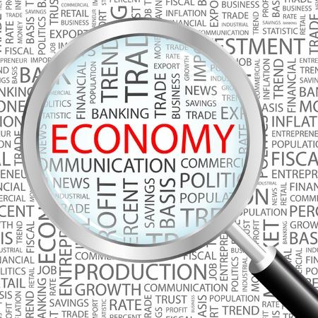 crisis economica: ECONOM�A. Lupa sobre fondo con t�rminos de asociaci�n diferente. Ilustraci�n vectorial.