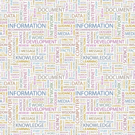 forewarning: INFORMATION. Seamless vector background. Wordcloud illustration. Illustration with different association terms.   Illustration