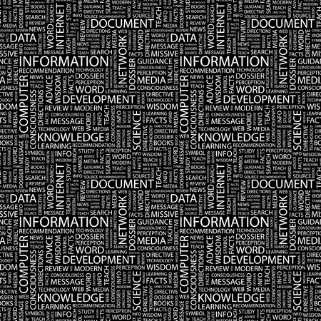 forewarning: INFORMATION. Seamless vector pattern with word cloud. Illustration with different association terms.   Illustration