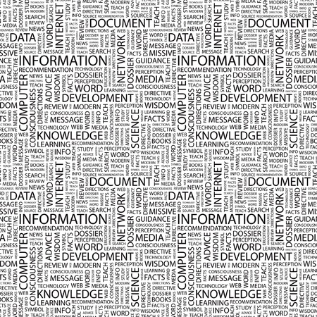 INFORMATION. Seamless vector pattern with word cloud. Illustration with different association terms.   Vector