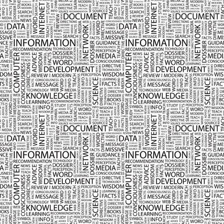의식: INFORMATION. Seamless vector pattern with word cloud. Illustration with different association terms.   일러스트
