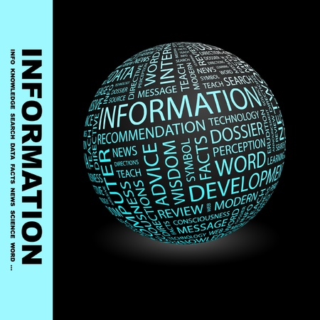 erudition: INFORMATION. Globe with different association terms. Wordcloud vector illustration.