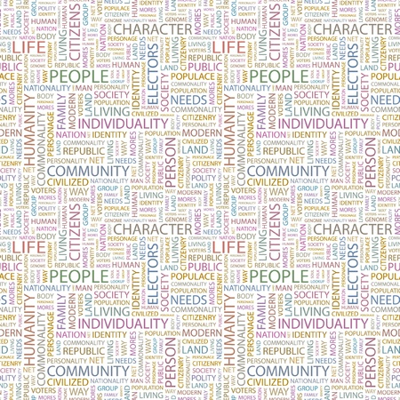 citizenry: PEOPLE. Seamless vector pattern with word cloud. Illustration with different association terms.
