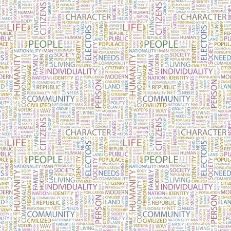 citizenry: PERSONAS. Patr�n de vector transparente con nubes de palabra. Ilustraci�n con t�rminos de asociaci�n diferente.