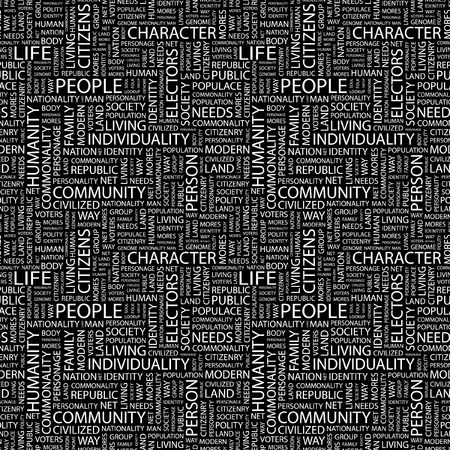 commonality: PEOPLE. Seamless vector pattern with word cloud. Illustration with different association terms.