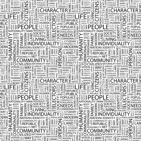populace: PEOPLE. Seamless vector pattern with word cloud. Illustration with different association terms.