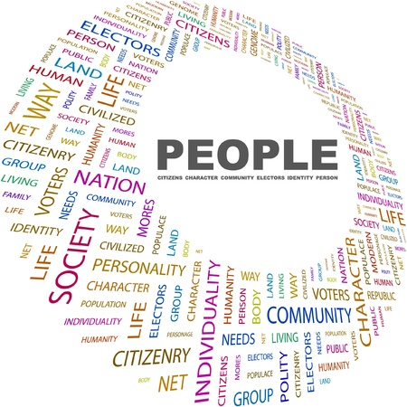 commonality: PEOPLE. Word collage on white background. Vector illustration. Illustration with different association terms.