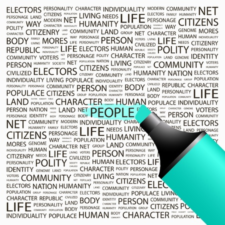 civilized: PEOPLE. Highlighter over background with different association terms. Vector illustration. Illustration