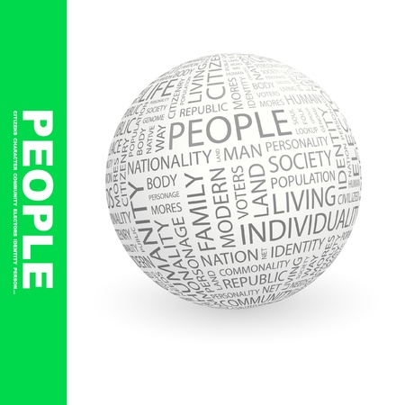 PEOPLE. Globe with different association terms. Wordcloud vector illustration.   Vector