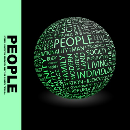 PEOPLE. Globe with different association terms. Wordcloud vector illustration.   Stock Vector - 9194175