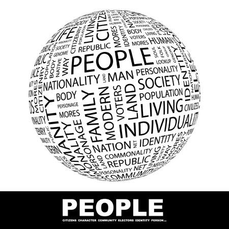 Demokratie: MENSCHEN. Globus mit verschiedenen Association Bedingungen. Wordcloud Vektor-Illustration.