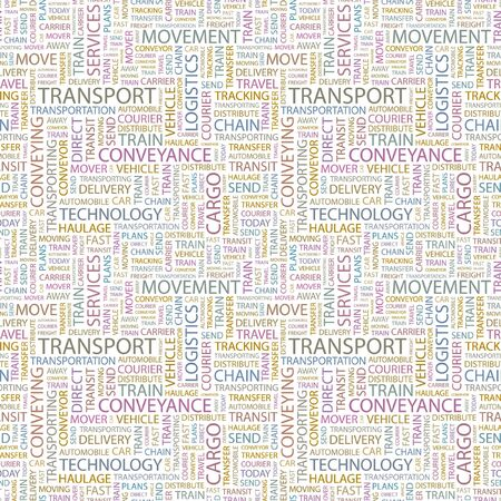 TRANSPORT. Seamless vector background. Wordcloud illustration. Illustration with different association terms.   Vector