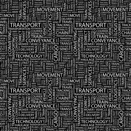 TRANSPORT. Seamless vector pattern with word cloud. Illustration with different association terms.   Vector