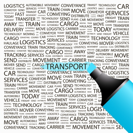 paint container: TRANSPORT. Highlighter over background with different association terms. Vector illustration. Illustration