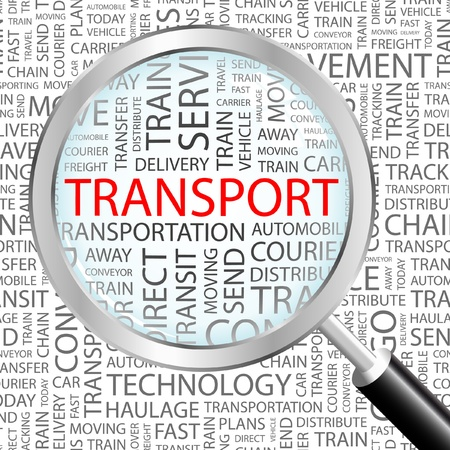 trucking: TRANSPORT. Magnifying glass over background with different association terms. Vector illustration.