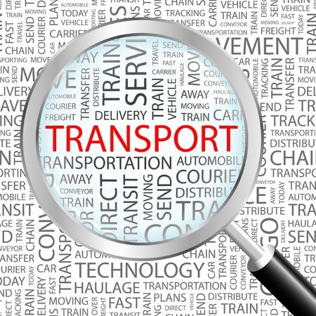 transporte de mercancia: TRANSPORTE. Lupa sobre fondo con t�rminos de asociaci�n diferente. Ilustraci�n vectorial.