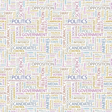 POLITICS. Seamless vector pattern with word cloud. Illustration with different association terms.   Vector