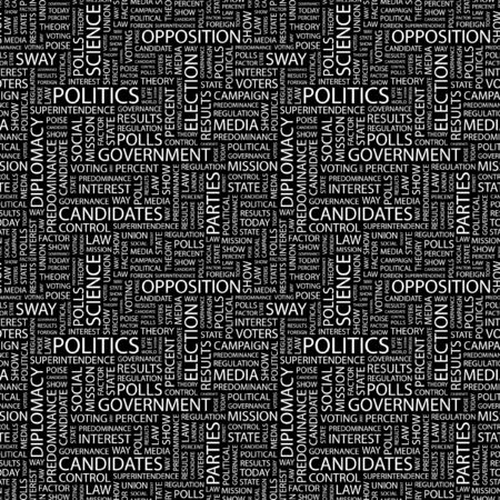 conflict theory: POLITICS. Seamless vector pattern with word cloud. Illustration with different association terms.