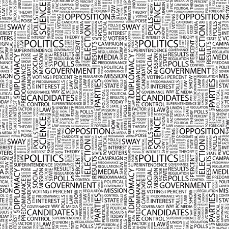 predominance: POLITICS. Seamless vector pattern with word cloud. Illustration with different association terms.