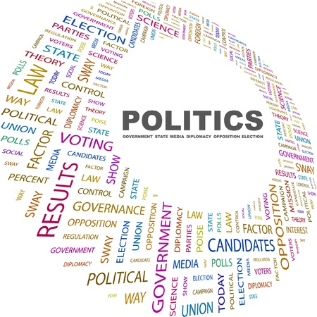 conflict theory: POLITICS. Word collage on white background. Vector illustration. Illustration with different association terms.