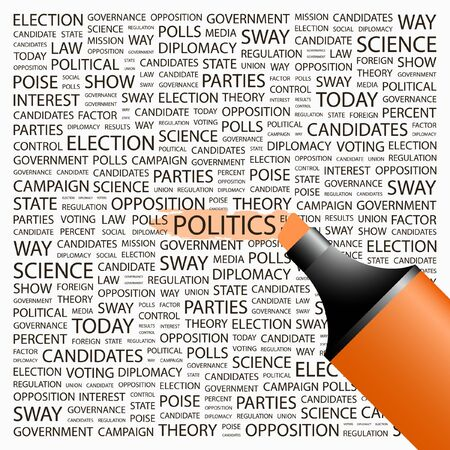 conflict theory: POLITICS. Highlighter over background with different association terms. Vector illustration.