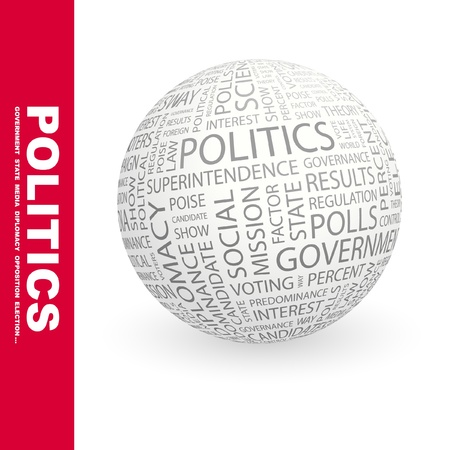 government: POLITICS. Globe with different association terms. Wordcloud vector illustration.