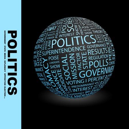 POLITICA. Globo con termini differenti associazione. Wordcloud illustrazione vettoriale.