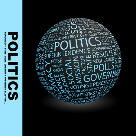 presidency: POLITICS. Globe with different association terms. Wordcloud vector illustration.