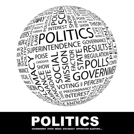 state government: POLITICS. Globe with different association terms. Wordcloud vector illustration.