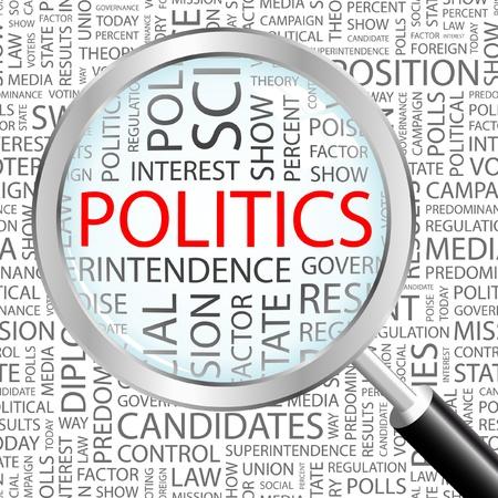 POLITIEK. Vergrootglas op achtergrond met verschillende vereniging voorwaarden. Vectorillustratie.