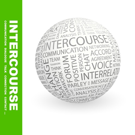 INTERCOURSE. Globe with different association terms. Wordcloud vector illustration.   Stock Vector - 9128387