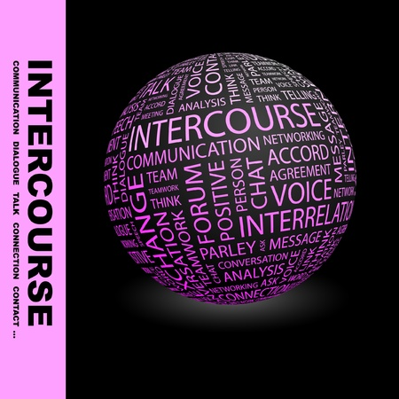 sphere of influence: INTERCOURSE. Globe with different association terms. Wordcloud vector illustration.