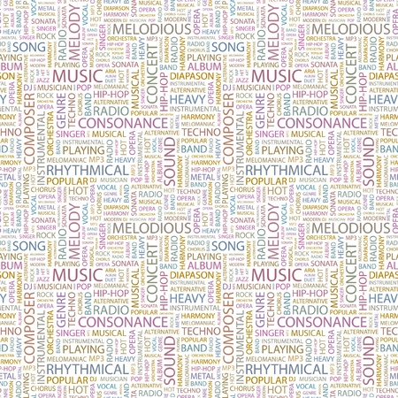 pop musician: MUSIC. Seamless vector pattern with word cloud. Illustration with different association terms.