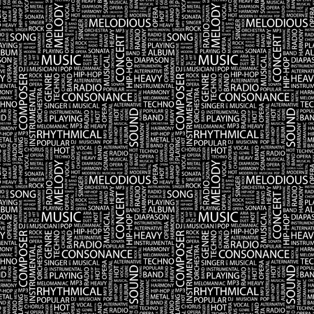 overture: MUSIC. Seamless vector pattern with word cloud. Illustration with different association terms.