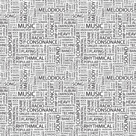 quartet: MUSIC. Seamless vector background. Wordcloud illustration. Illustration with different association terms.
