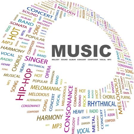 melomaniac: MUSIC. Word collage on white background. Vector illustration. Illustration with different association terms.