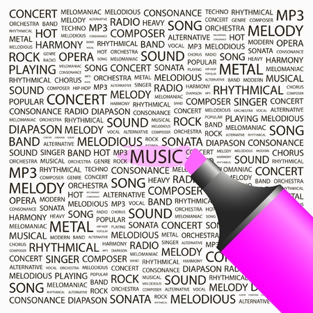 melomaniac: MUSIC. Highlighter over background with different association terms. Vector illustration.