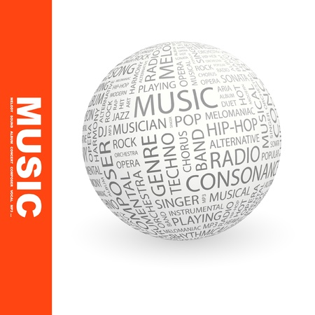 melomaniac: MUSIC. Globe with different association terms. Wordcloud vector illustration.