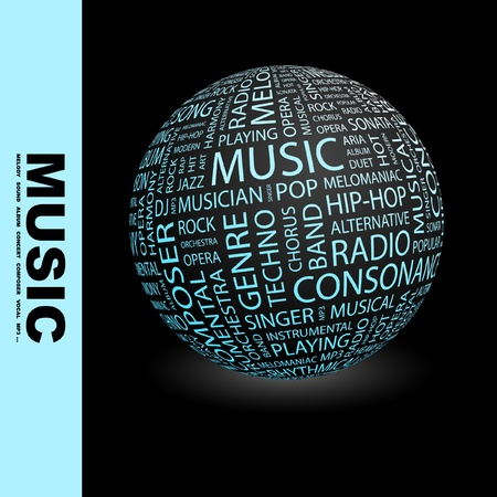 rap music: MUSIC. Globe with different association terms. Wordcloud vector illustration.