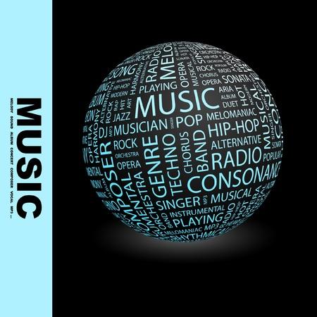 popular music concert: MUSICA. Globo con termini differenti associazione. Wordcloud illustrazione vettoriale.