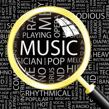 melomaniac: MUSIC. Magnifying glass over background with different association terms. Vector illustration.