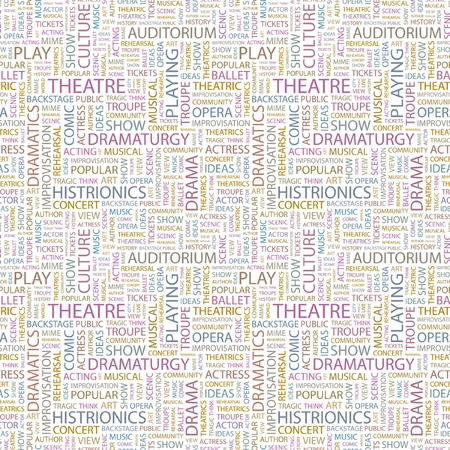 THEATRE. Seamless vector background. Wordcloud illustration. Illustration with different association terms.