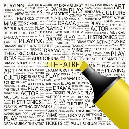 theatrics: THEATRE. Highlighter over background with different association terms. Vector illustration. Illustration