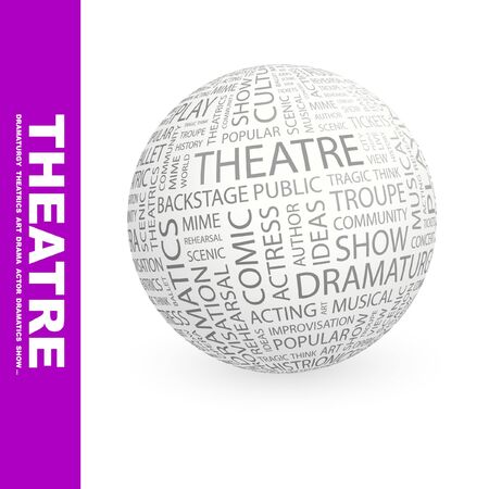 예행 연습: THEATRE. Globe with different association terms. Wordcloud vector illustration.   일러스트